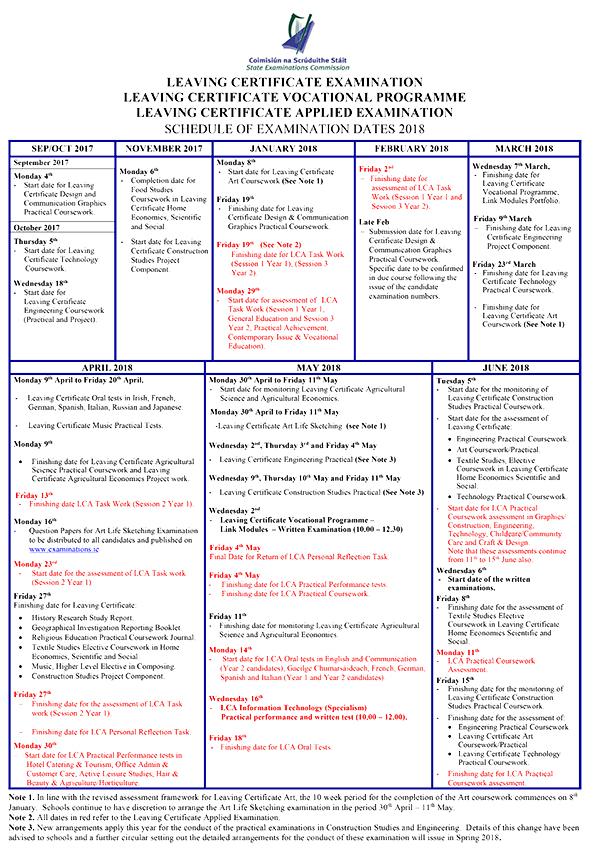 Leaving Cert Practical Exam Schedule 2018 Schooldays